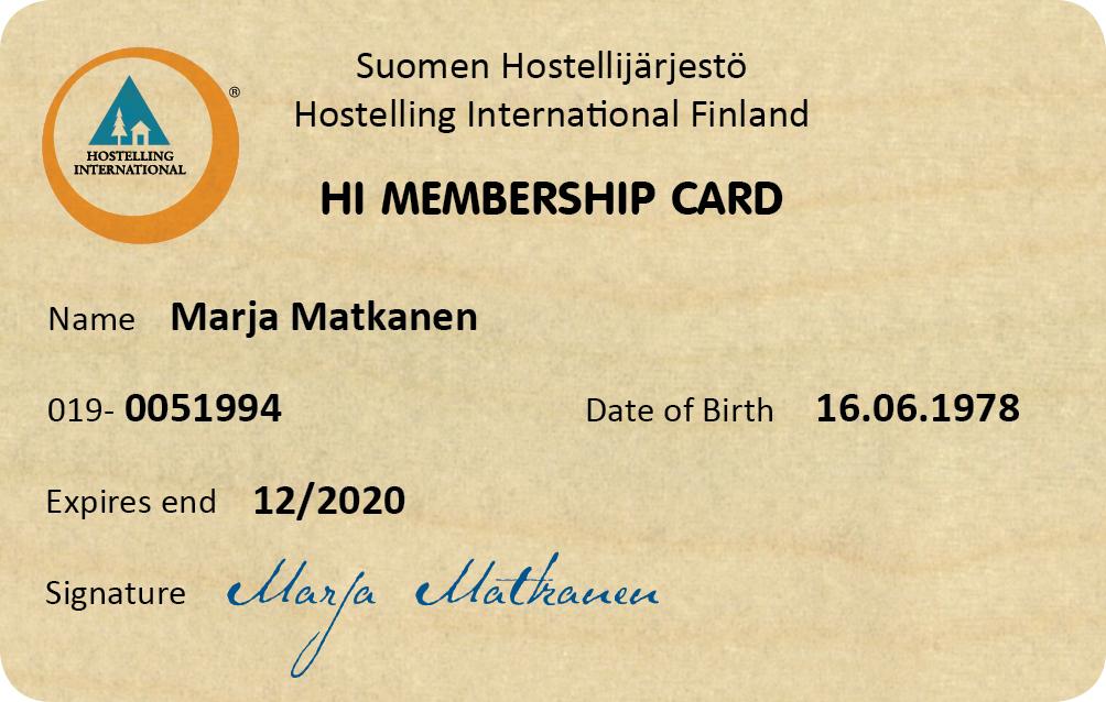 Henkilökohtainen kansainvälinen hostellikortti jäsenelle