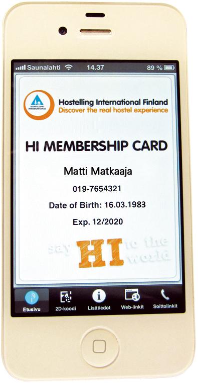 Henkilökohtainen kansainvälinen mobiilihostellikortti jäsenelle