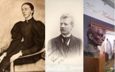 Adelsdamen och två av konstens gynnare