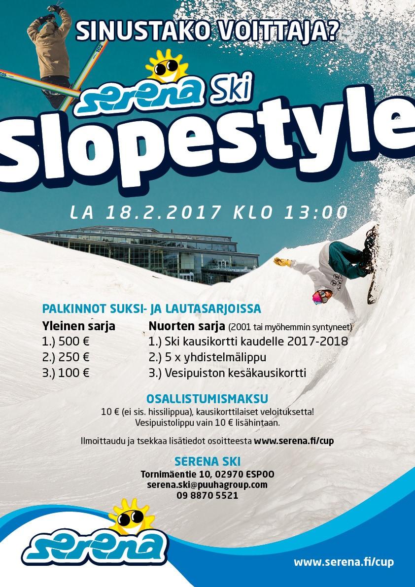 Serena Ski Slopestyle 18.2.2017 rekisteröinti