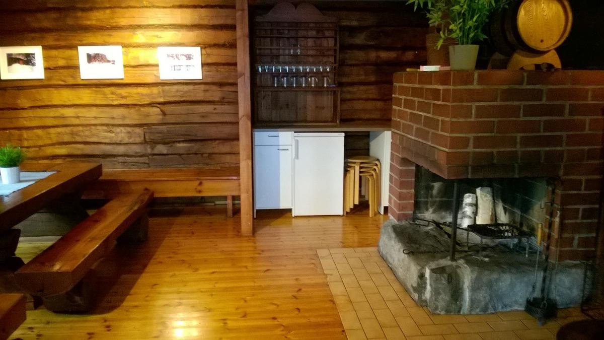 fire place room in public sauna