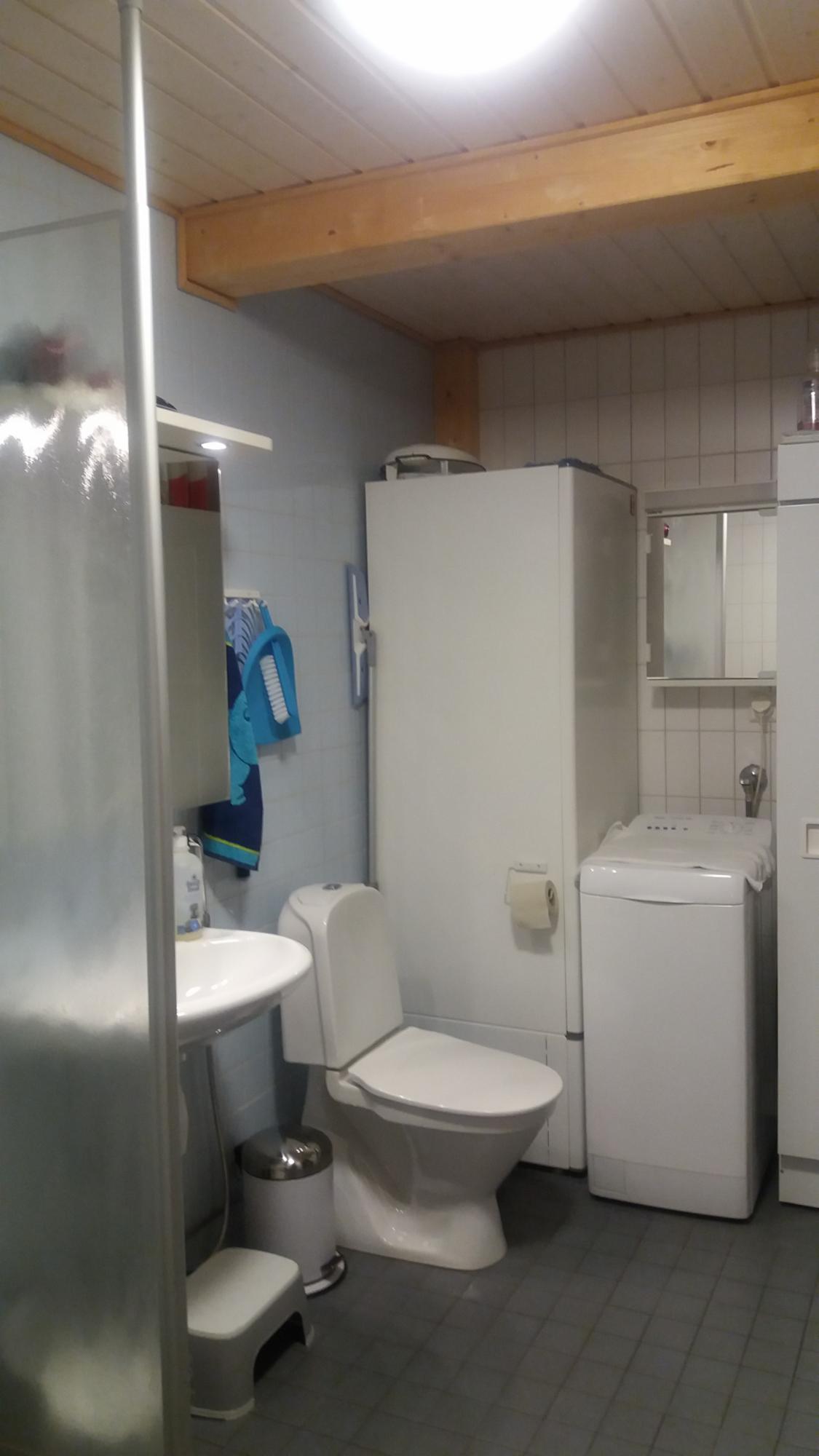 Kylpyhuoneessa on mm. pesukone ja kuivauskaappi.