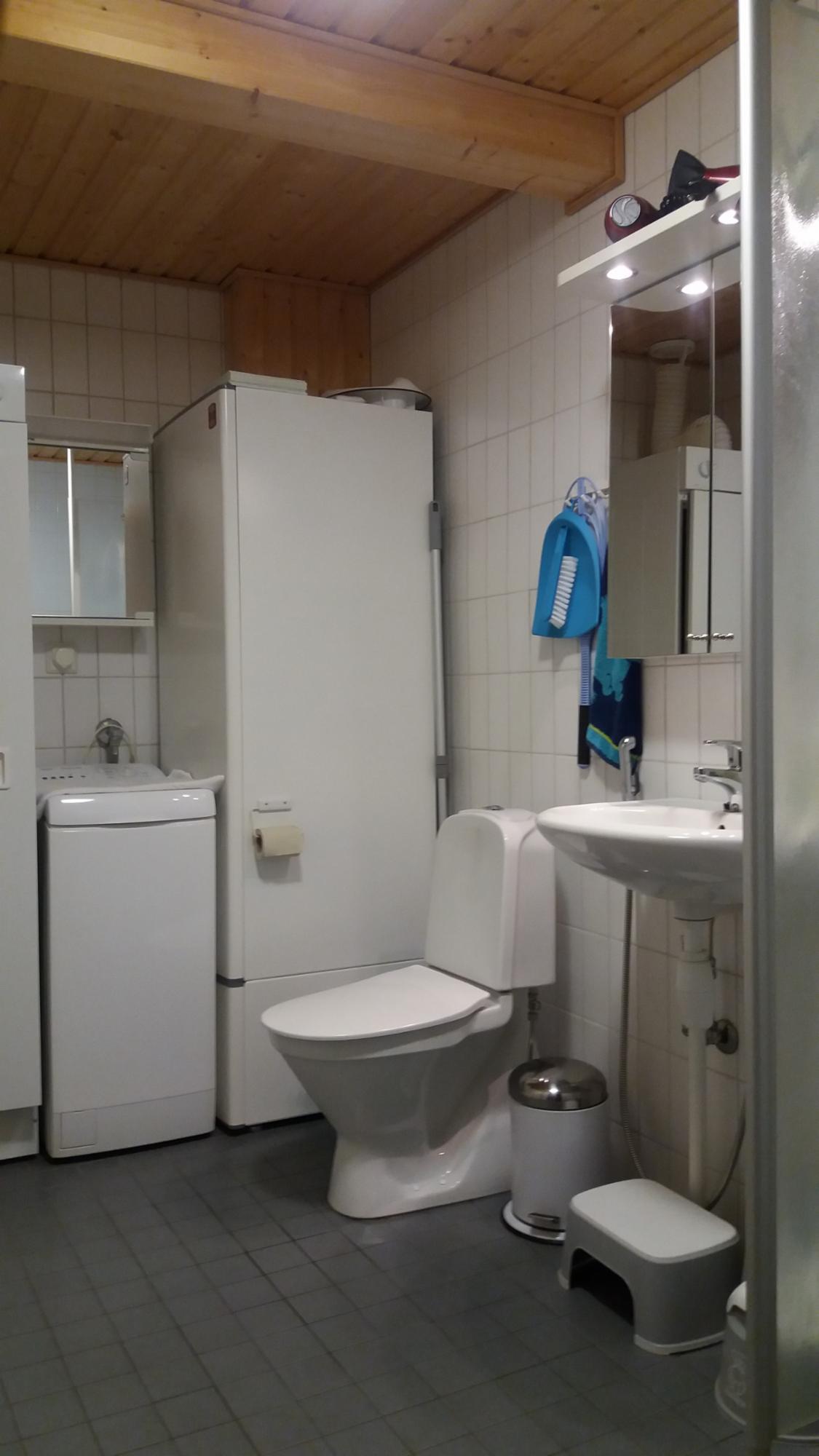Kylpyhuoneessa on mm.pesukone ja kuivauskaappi.