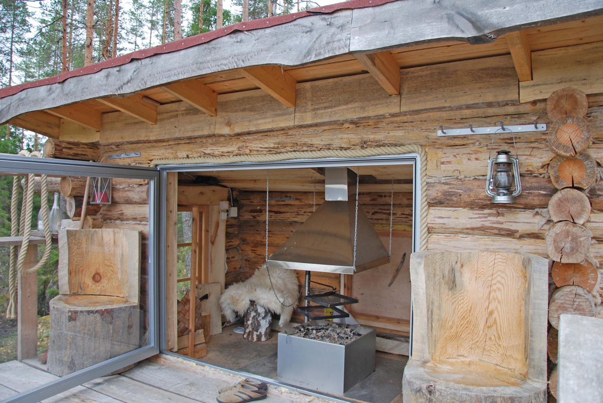 Forest lean-to and sauna with extra charge.