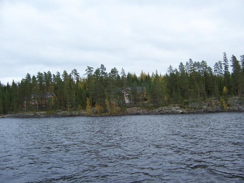 Maisema järveltä, Näsinjoutsen mökki oikealla (vasemmalla Näsinneito)